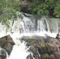 Segmented waterfalls of River Kaveri with many channels on mountains Royalty Free Stock Photo