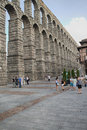 Segovia the famous ancient roman aqueduct in Stock Photo