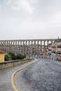 Segovia the famous ancient roman aqueduct in Stock Photography