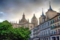 Segovia roman catholic cathedral at castile and leon Stock Photos