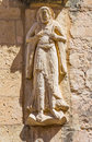 Segovia spain april the relief of st peter the apostle on the facade of romanic church iglesia de san miguel Royalty Free Stock Photography