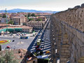 Segovia spain aqueduct the roman of and the historical buildings Stock Photos