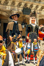 Segovia spain june giants and big heads gigantes y cabezudos in festival on in Royalty Free Stock Photography