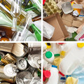 Segregated garbage a selection of for recycling metal plastic paper and glass Stock Image