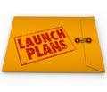 Segreti di plans yellow envelope start new business company del lancio Immagini Stock