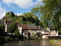 Segur le chateau village and auvezere river france has been selected as one of the most beautiful villages of with castle ruins Stock Image