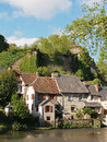 Segur le chateau village and auvezere river france has been selected as one of the most beautiful villages of with castle ruins Stock Photo