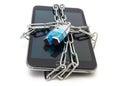 Seguridad móvil con el teléfono móvil y la cerradura Imagen de archivo libre de regalías