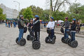 Segway alamo gathering a of segways and riders in the forefront of the in san antonio texas Royalty Free Stock Photos