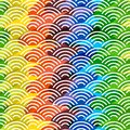 Seigaiha or seigainami literally means blue wave of the sea. rainbow seamless pattern abstract scales simple Nature background