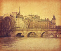 Seine pont neuf central paris france photo retro style paper texture Stock Photo