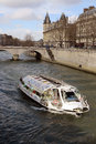 Seine river boat tours on in paris Royalty Free Stock Photo