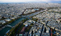 Seine River and the City of Paris from High Up Royalty Free Stock Photos