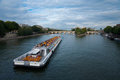 Seine River Cruise Ship Paris H Royalty Free Stock Photo