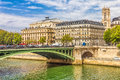 Seine river and the notre dame in background prais france Royalty Free Stock Photo
