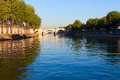 Seine river at saint lois island paris morning on seina europe Royalty Free Stock Photos