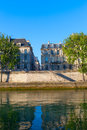 Seine river at saint lois island paris morning on seina europe Royalty Free Stock Image