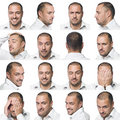 Seize expressions faciales d'un homme Photos libres de droits