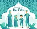 Selamat hari raya Idul Fitri is another language of happy eid mubarak in Indonesian. Cartoon muslim family celebrating Eid al fitr