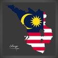 Selangor Malaysia map with Malaysian national flag illustration