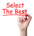Select the best hand with red marker writing concept isolated on white background Royalty Free Stock Photos