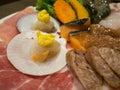 Select focus blur seafood and pork yakiniku japanese food noodles with meat ball Stock Photos