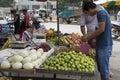 Select fruits customer from street cart pingxiang city china Royalty Free Stock Photography