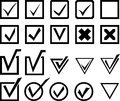 Select icons set of check and symbols Stock Photo
