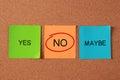 Select no sticky note on cork board Royalty Free Stock Image