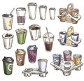 Selection of coffee takeaway cups and carrier trays.