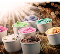 Selection of colorful tubs of ice cream Royalty Free Stock Photo
