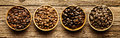 Selection of different roasted coffee beans Royalty Free Stock Photo