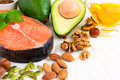 Selection Food sources of omega 3 and healthy fats, copy space Royalty Free Stock Photo