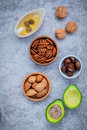 Selection food sources of omega and unsaturated fats super fo high for healthy almond pecan Stock Photo