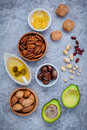 Selection food sources of omega and unsaturated fats super fo high for healthy almond pecan Royalty Free Stock Photo
