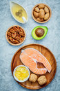 Selection food sources of omega 3 and unsaturated fats. Super food high omega 3 and unsaturated fats for healthy food. Almond Royalty Free Stock Photo