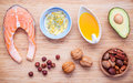 Selection food sources of omega 3 and unsaturated fats. Superfoo Royalty Free Stock Photo