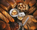 Selection of fresh bread and butter Royalty Free Stock Photo