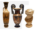 Selection greek pottery on white backgrpound antique or roman with scenes Stock Photography