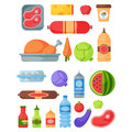 Selection of healthy food diet dinner lunch cooking nutrition cuisine vector illustration.