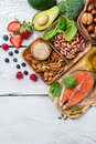 Selection of healthy food for heart, life concept Royalty Free Stock Photo