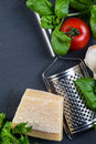 Selection of italian tipical food on black background from above Stock Images