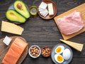 Selection of Ketogenic diet products on wooden background with copyspace in the center Royalty Free Stock Photo