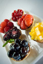 Selection of mini fruit tarts Royalty Free Stock Photos