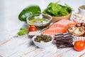 Selection of nutritive food - heart, cholesterol, diabetes Royalty Free Stock Photo
