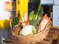Selection of root vegetables a outside a shop in a basket Royalty Free Stock Images