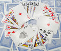 Selection scattered playing cards Stock Photos