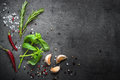 Selection of spices herbs and greens. Royalty Free Stock Photo
