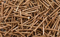 Selection of srews close up photo wood with different sizes Stock Photos