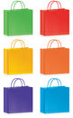 Selection striped shopping bags bright colors Royalty Free Stock Photos